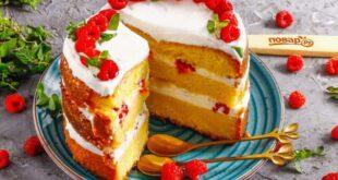 Бисквитный торт с малиной - пошаговый рецепт с фото
